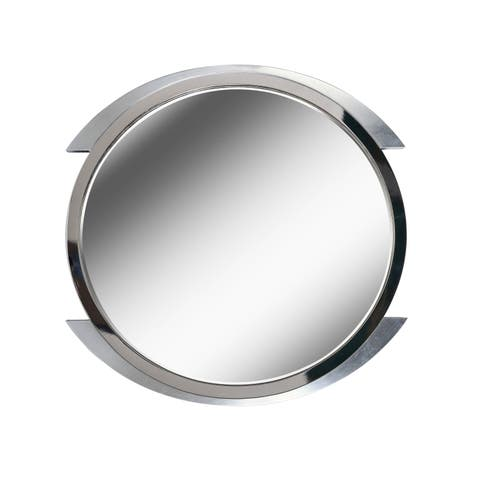 "Chromium 36"" Brushed Steel Wall Mirror"