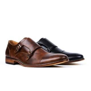 UV Signature Men's Monk Strap Cap Brogue Dress Shoes