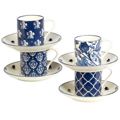 Certified International Blue Indigo 4 oz Espresso Cup and Saucer Set in Assorted Designs Set of 4