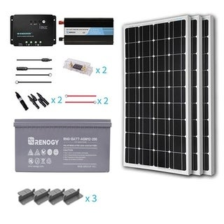 Renogy 300W 12V Mono Starter Complete Kit with AGM Battery