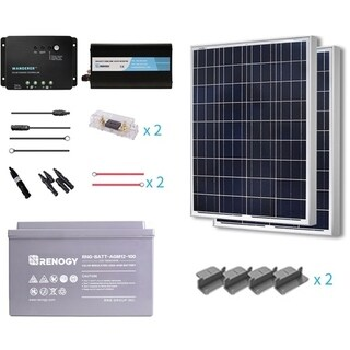 Renogy 200W 12VPoly Starter Complete Kit with AGM Battery