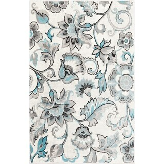 "Home Dynamix  Boho Distressed Floral Ivory-Blue Area Rug (3'3"" x 5'2"")"