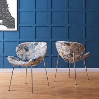 Handy Living Peter Set of 2 Multi Abstract Floral Blue Modern Armless Chairs with Chrome Legs