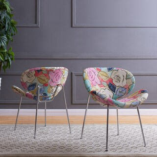 Handy Living Peter Set of 2 Multi Abstract Floral Fuscia Modern Armless Chairs with Chrome Legs