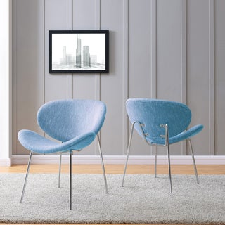 Handy Living Peter Set of 2 Blue Stripe Modern Armless Chairs with Chrome Legs