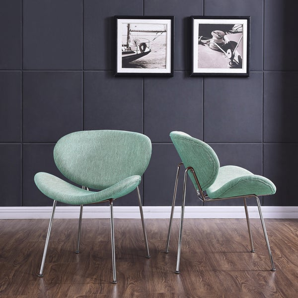 Handy Living Peter Set of 2 Green Stripe Modern Armless Chairs with Chrome Legs
