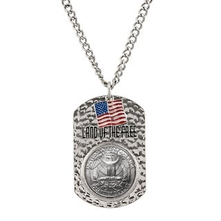 Eagle Land of the Free Men's Tag Coin Pendant Reverse of Washington Quarter - Silver