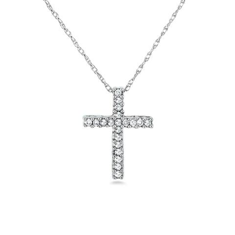 3d1d25d970e Annello by Kobelli 10k Gold 1/10 Carat TDW Cross Necklace Shared Prongs  Setting
