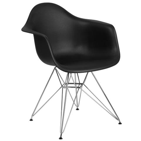 Plastic Chair with Arms and Chrome Base - Accent & Side Chair
