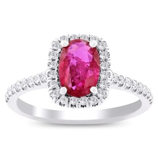 Auriya 18k White Gold Certified 1ct Rare Unheated Ruby and 1/3ct TDW Diamond Ring