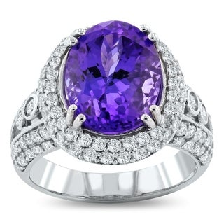 Auriya 14k White Gold 6 1/2ct Natural Oval-Cut Tanzanite and 1 3/8ct TDW Diamond Halo Engagement Ring