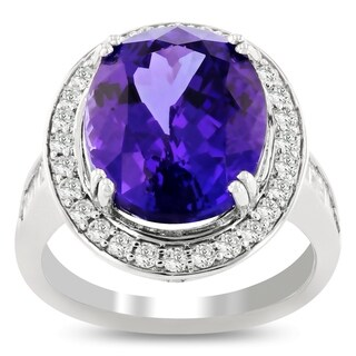 Auriya Platinum GIA Certified 9 1/5ct Oval-Cut Natural Tanzanite and 1ct TDW Diamond Halo Engagement Ring - White