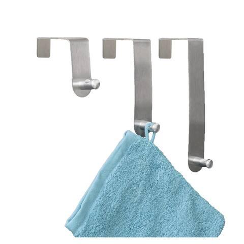 Brushed Stainless Steel Over The Door Hooks Hanger 3 sizes Set of 3