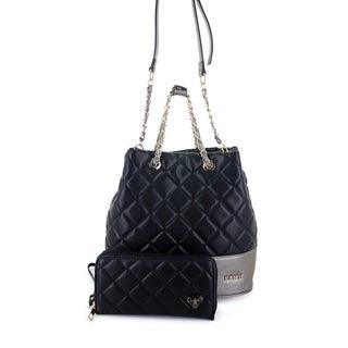 LANY Annie Quilted Faux Leather Bucket Handbag and Matching Wallet