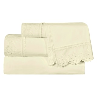 Five Queens Court Eyelet Shabby Chic Style 4-Piece Sheet Set
