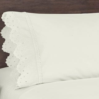 Five Queens Court Eyelet Shabby Chic Style Pillow Case Set