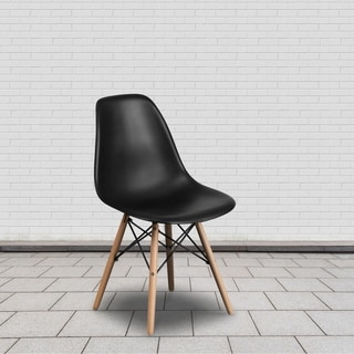 Plastic Side Chair/Wood Legs