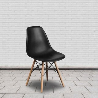 Elon Series Plastic Chair with Wood Base (Option: White)