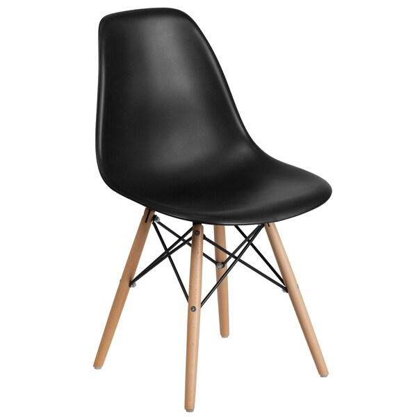 Plastic Side Chair/Wood Legs