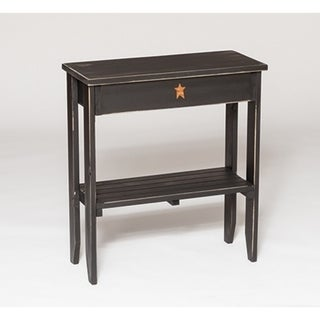 Primitive Rustic Country-style Painted-black finished Pinewood End Table