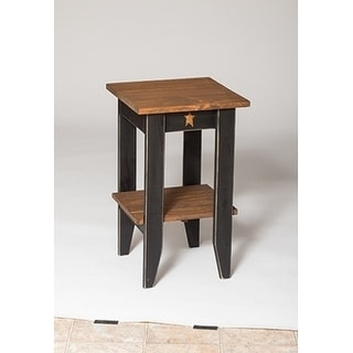 Primitive Rustic Country-style Black/Walnut Pine Wood Square End Table