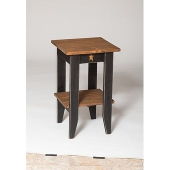 Primitive Rustic Country Style Black/Walnut Pine Wood Square End Table