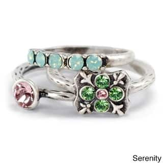 Sweet Romance Silver Serenity Set of 3 Inspirational Boho Crystal Stacking Rings|https://ak1.ostkcdn.com/images/products/18063063/P24225863.jpg?impolicy=medium