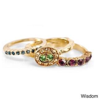 Sweet Romancegold Wisdom Set Of 3 Inspirational Boho Crystal Stacking Rings