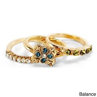Sweet Romance Gold Balance Set Of 3 Inspirational Boho Crystal Stacking Rings