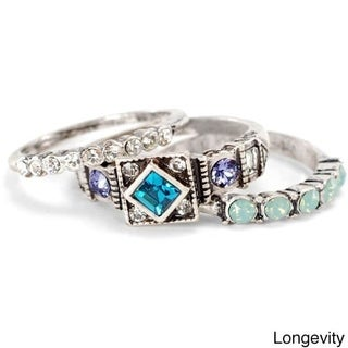 Sweet Romance Silver Longevity Set of 3 Inspirational Boho Crystal Stacking Rings (4 options available)