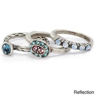 Sweet Romance Silver Reflection Set of 3 Inspirational Boho Crystal Stacking Rings