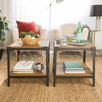 Rustic Square Angle Iron End Tables (Set of 2)