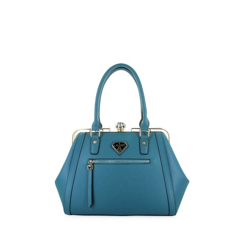 LANY Fiona Faux Leather Stone Clasp Satchel Handbag