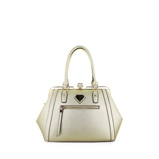 LANY Fiona Faux Leather Stone Clasp Satchel Handbag