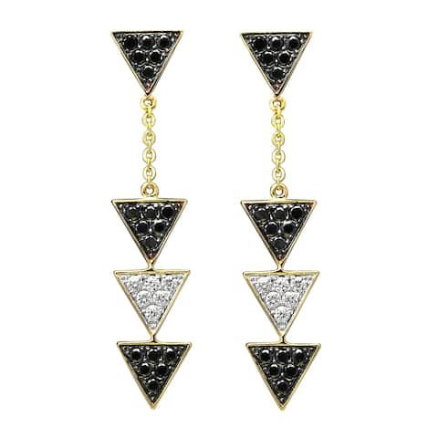 14k Yellow Gold Black and White Diamond Triangle Dangle Earrings