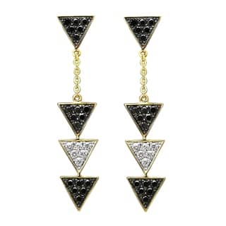 14k Yellow Gold Black and White Diamond Triangle Dangle Earrings|https://ak1.ostkcdn.com/images/products/18063112/P24225895.jpg?impolicy=medium