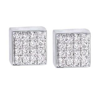 14k Yellow Gold Diamond Square Stud Earrings