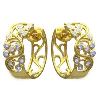 14k Yellow Gold 0.65 Carat Open Filgree Hoop Earrings