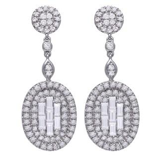 14k White Gold 1.3 Carat Fancy Oval Dangle Earrings