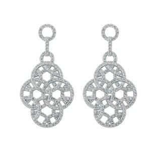 14k White Gold 1.75 Carat Multi Circle Dangle Pave Earrings