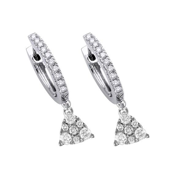 14k White Gold 75 Carat Diamond Pyramid Dangle Pave Earrings