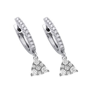 14k White Gold .75 Carat Diamond Pyramid Dangle Pave Earrings