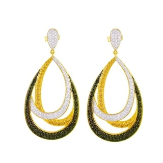 14k Yellow Gold 2 Carat Open Pear Shape Black, White and Champagne Dangle Pave Earrings