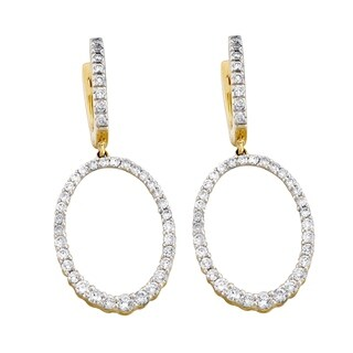 14k Yellow Gold 1 Carat Diamond Oval Dangle Earrings
