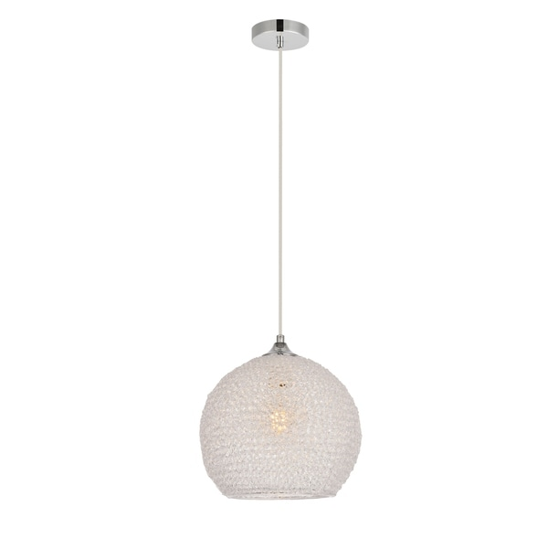Lilou Collection Pendant D9.8 H10 Lt:1 Chrome and Clear Finish