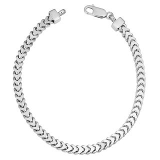 Fremada Men's Rhodium Plated Sterling Silver 4.9 millimeters Franco Bracelet (9 inches)