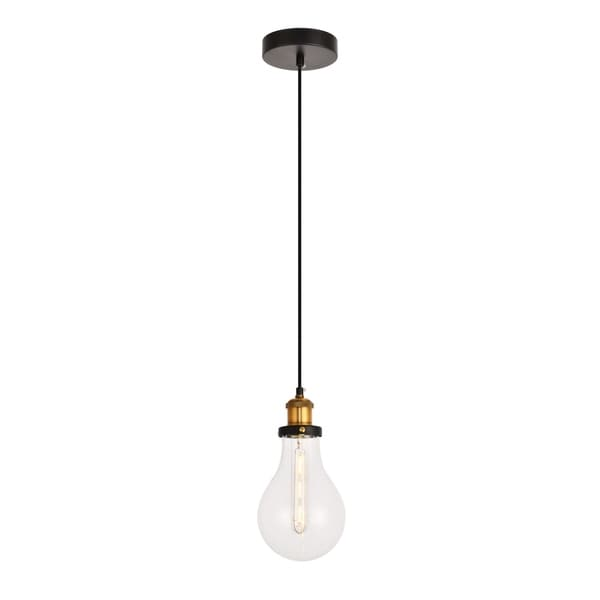 Watts Collection Pendant D5.5'' H10.6 Lt:1 Black and Brass and Clear Finish