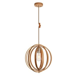 Stanton Collection Pendant D14.8 H15.7 Lt:1 Wood Grain and Burnished Nickel Finish