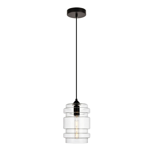 Placido Collection Pendant D6.7 H11 Lt:1 Black and Clear Finish