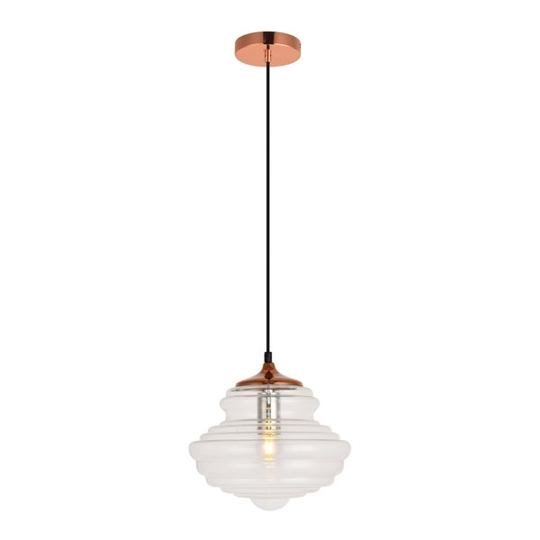 Topper Collection Pendant D10.6 H10.5 Lt:1 Copper and clear Finish